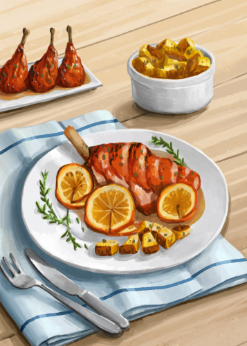 26 honey orange quail with new potatoes